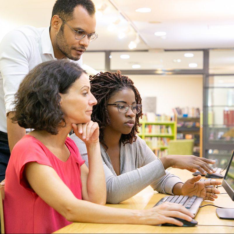Educators training on computer