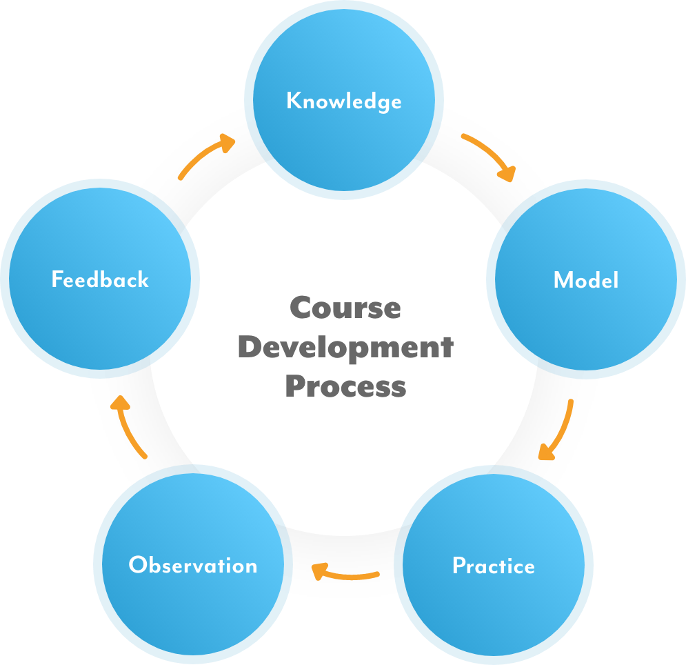Cyclic diagram of: Knowledge, Model, Practice, Observation, Feedback